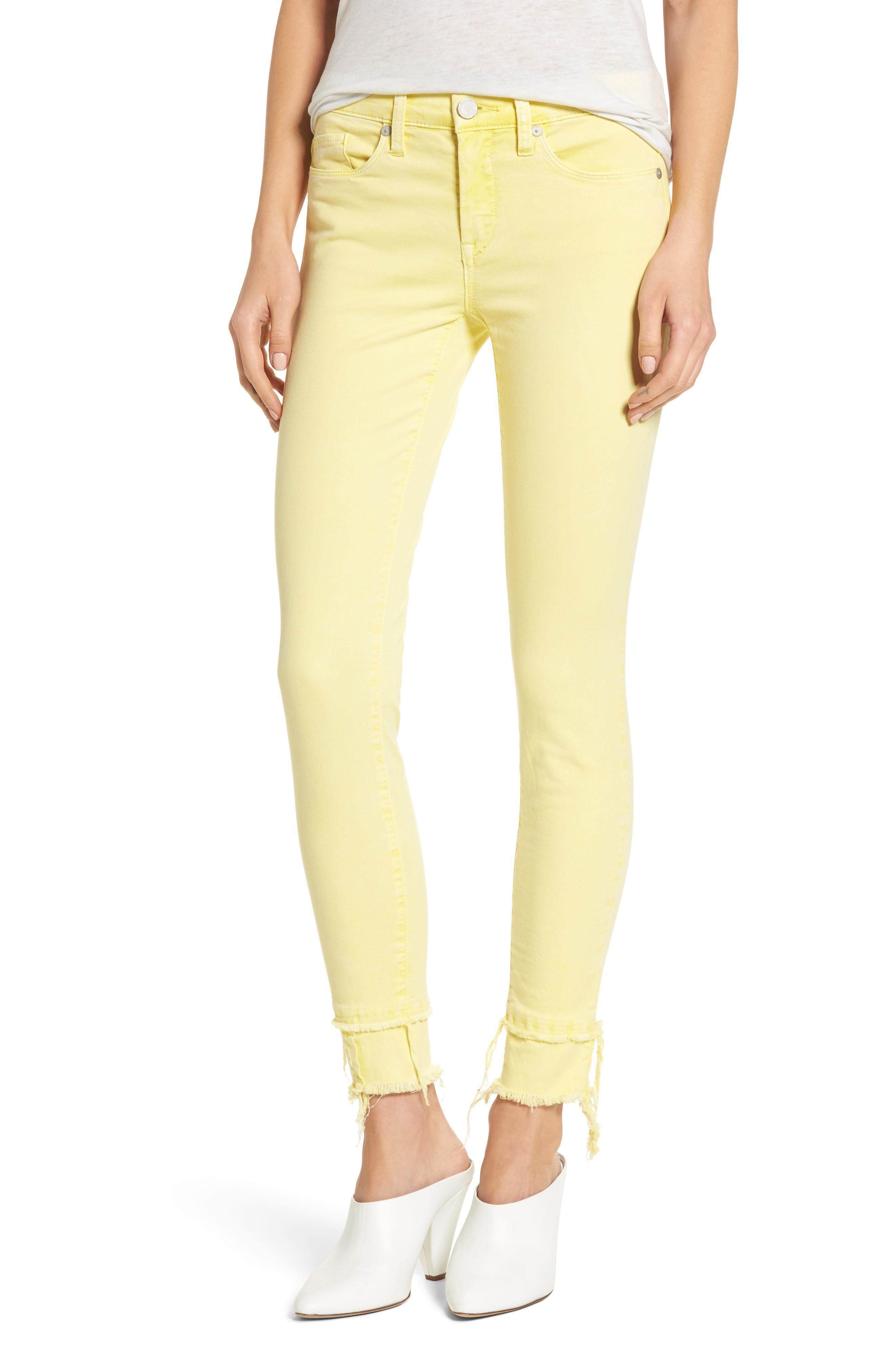 Blanknyc The Reade Classic Crop Raw Edge Double Hem Jeans In Sunny Spot Yellow