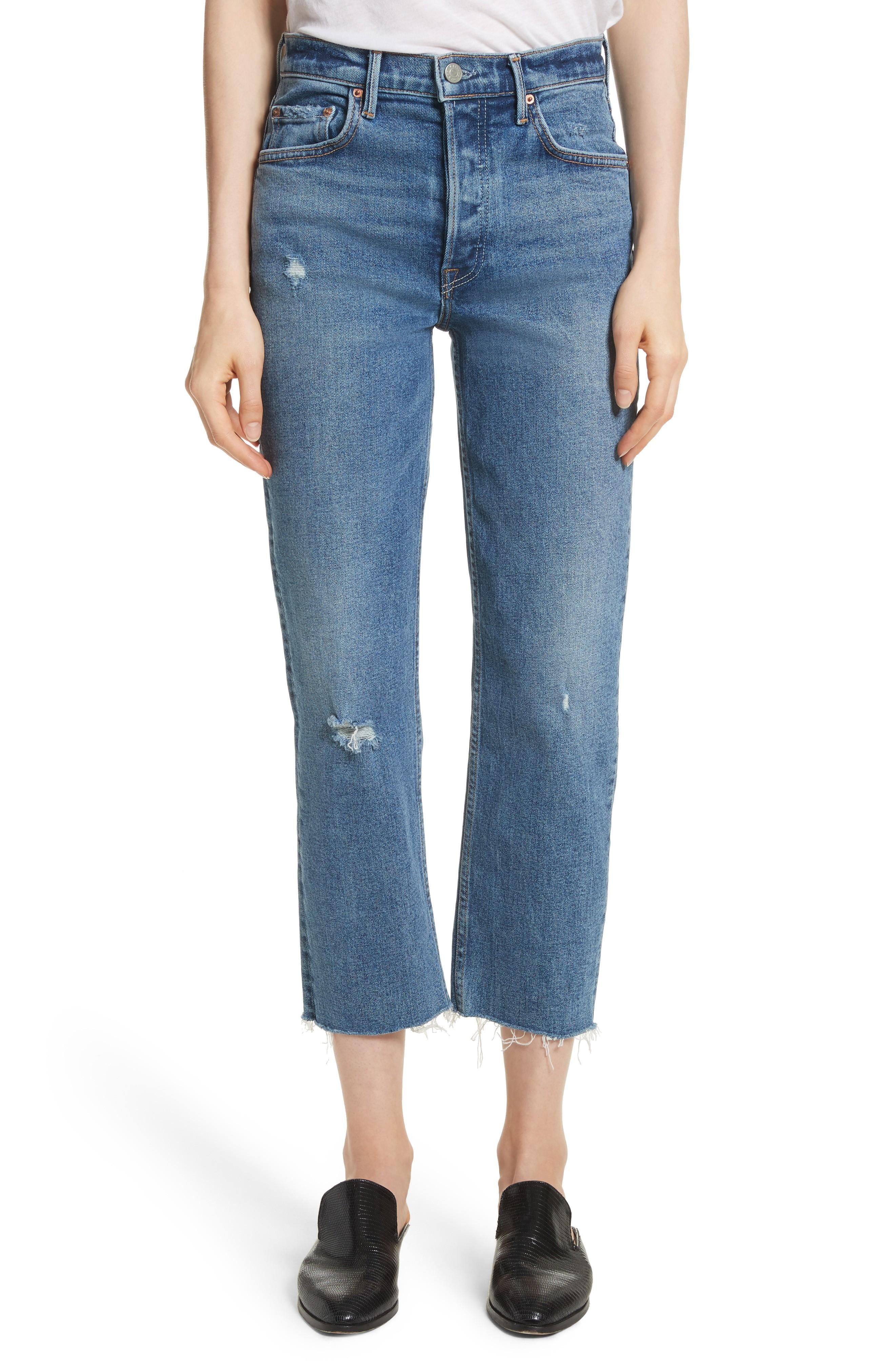 Grlfrnd Helena Distressed Rigid High Waist Straight Jeans In Sixpence