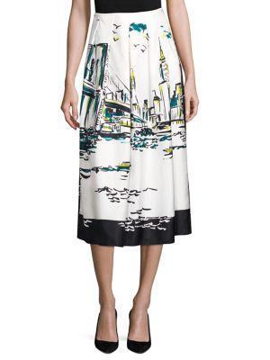 Lafayette 148 Sabilla Silk New York Skirt In Atlantic Teal Multi