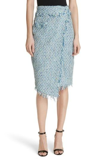 Milly Tweed Wrap Skirt In Blue