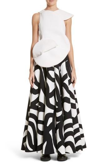 Junya Watanabe Swirl Skirt In White/ Black