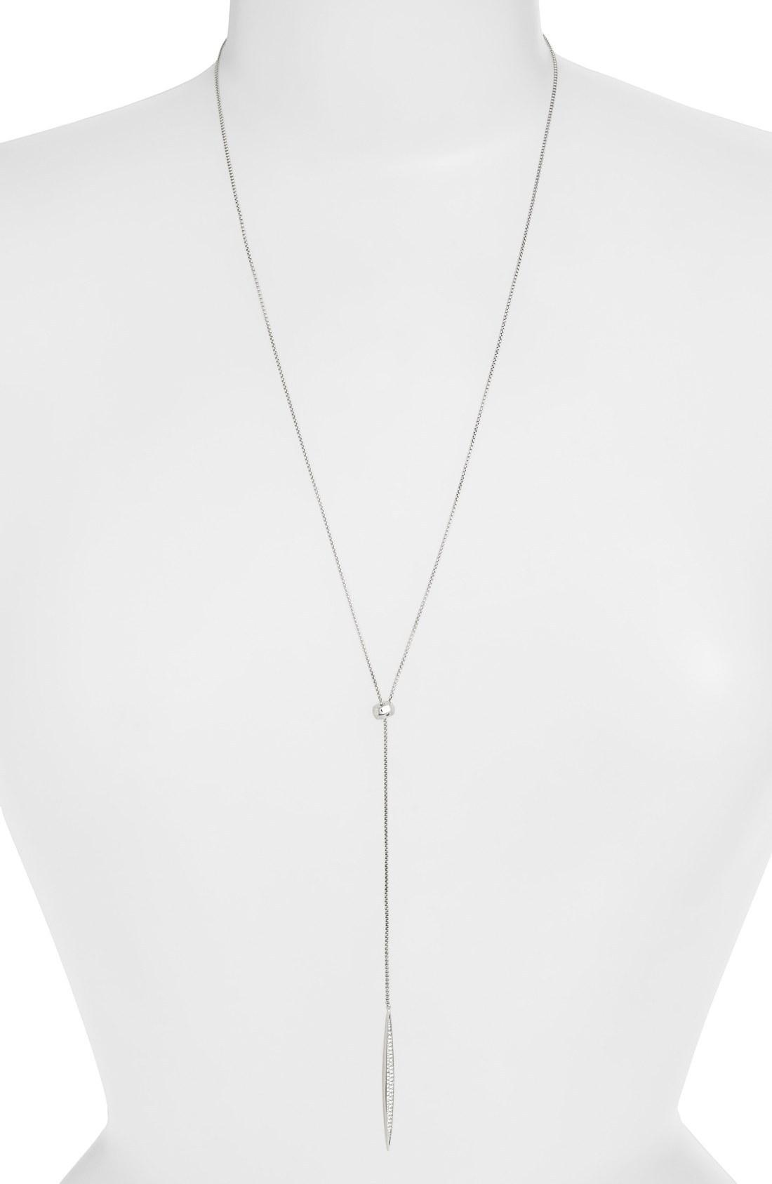 Nadri 'tattoo' Encrusted Lariat Necklace In Silver