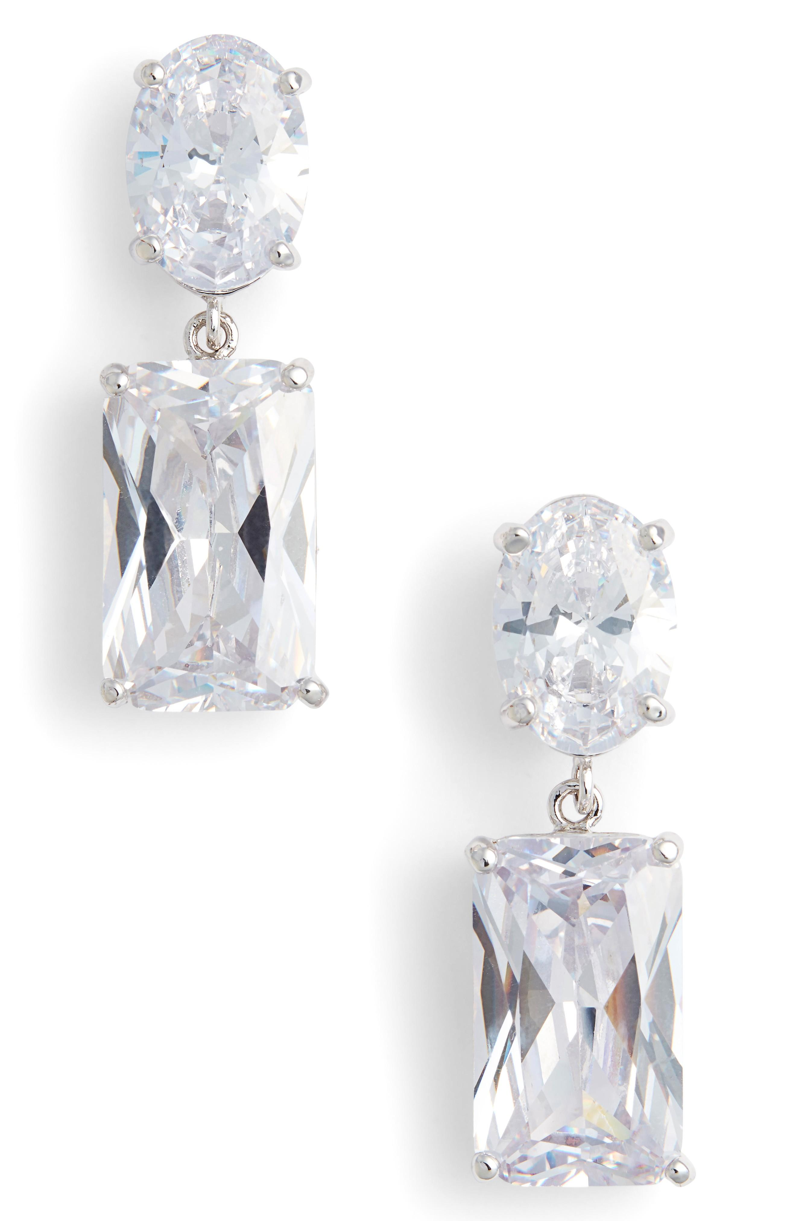 Nina Rock Candy Drop Earrings In Silver/ White Cz