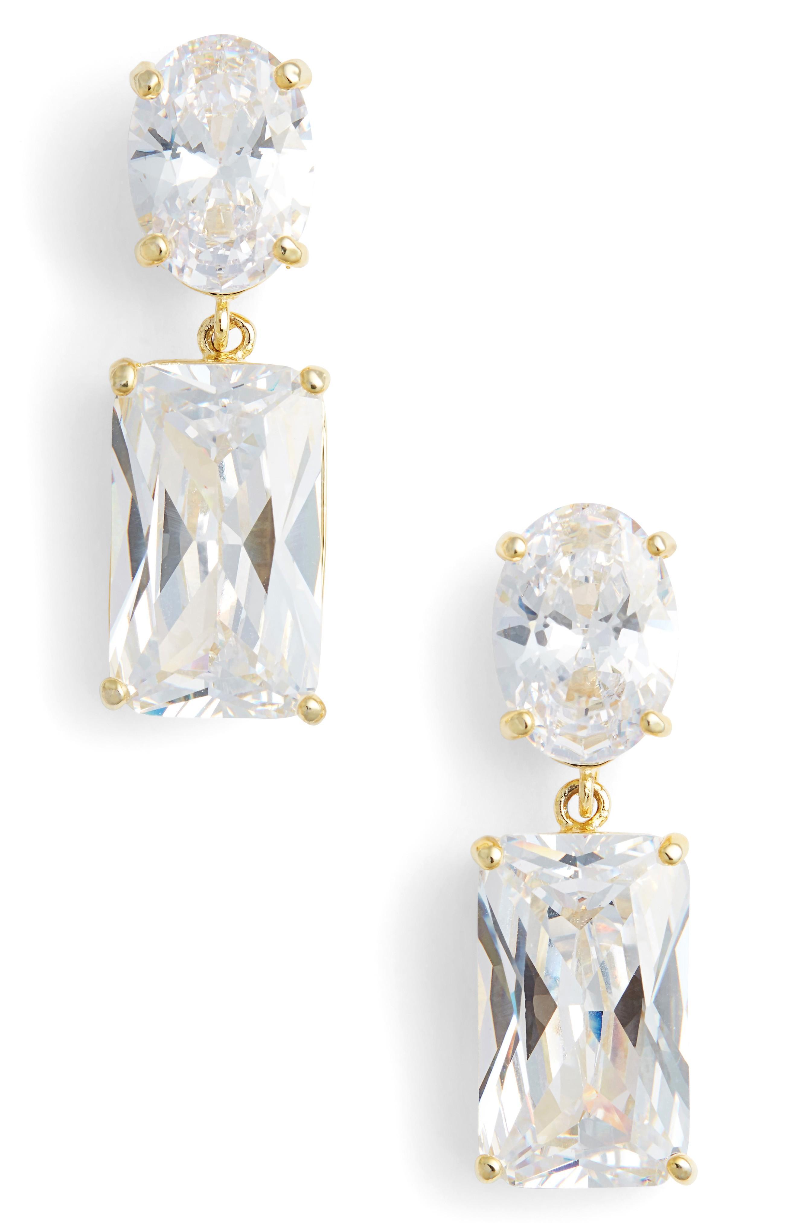 Nina Rock Candy Drop Earrings In Gold/ White Cz