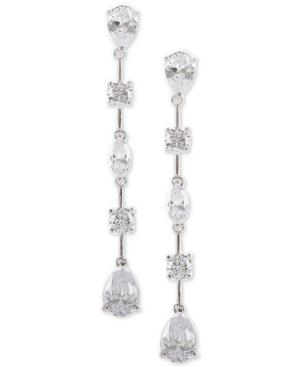 Nina Silver-tone Cubic Zirconia Linear Drop Earrings In Rhodium/white Cz