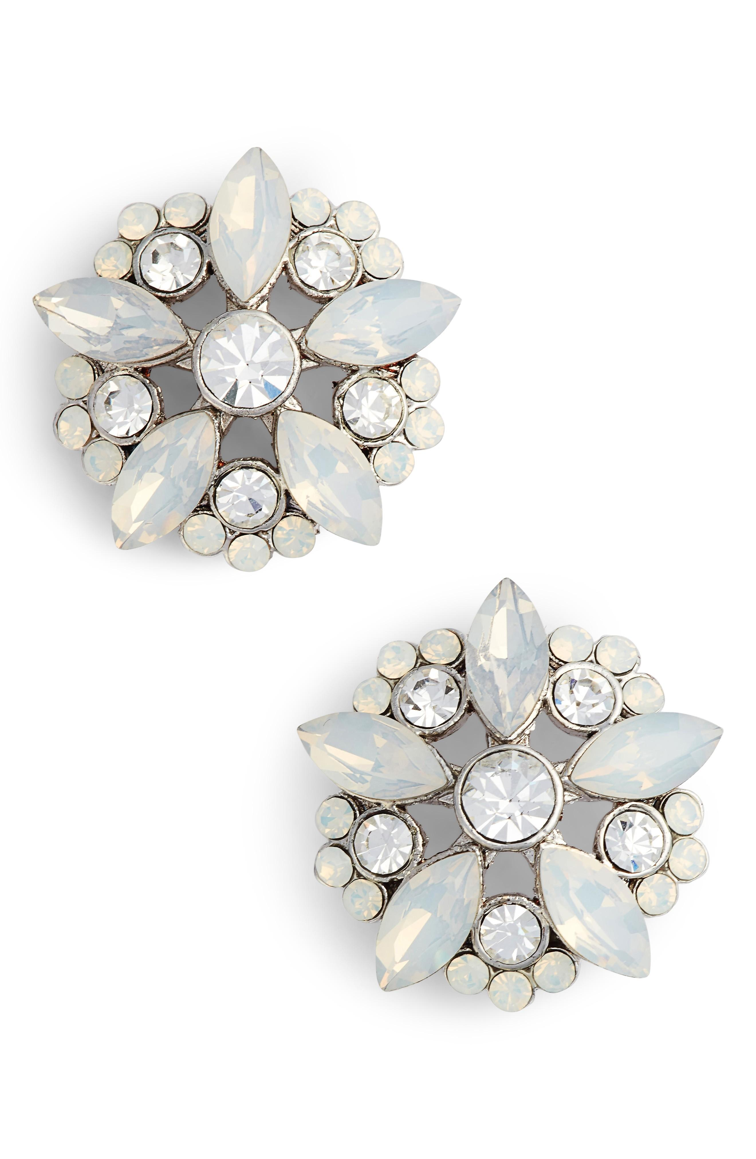 Nina Floral Stud Earrings In Silver/ Opal/ White Crystal