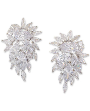 Nina Silver-tone Crystal Cluster Drop Earrings In Rhodium/white Cz