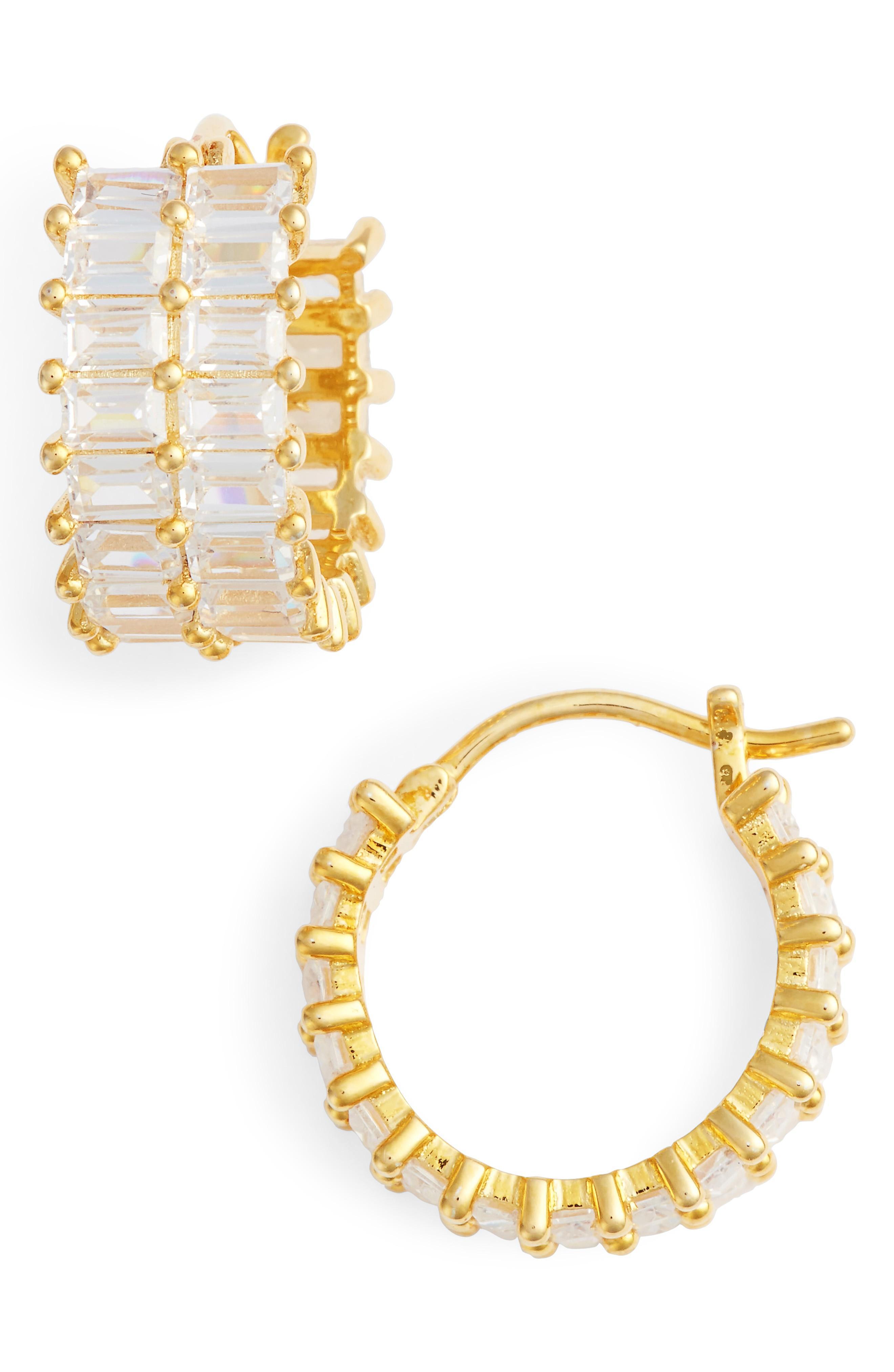 Nina Small Baguette Hoop Earrings In Gold/ White Cz