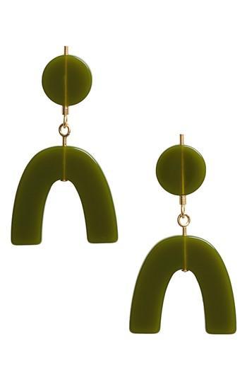 Madewell Shapes Statement Drop Earrings In Birch Leaf