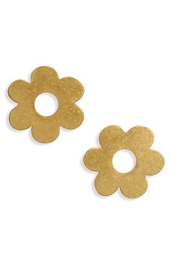 Madewell Daisy Cutout Post Earrings In Vintage Gold
