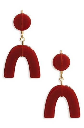 Madewell Shapes Statement Drop Earrings In Burnished Mahogany