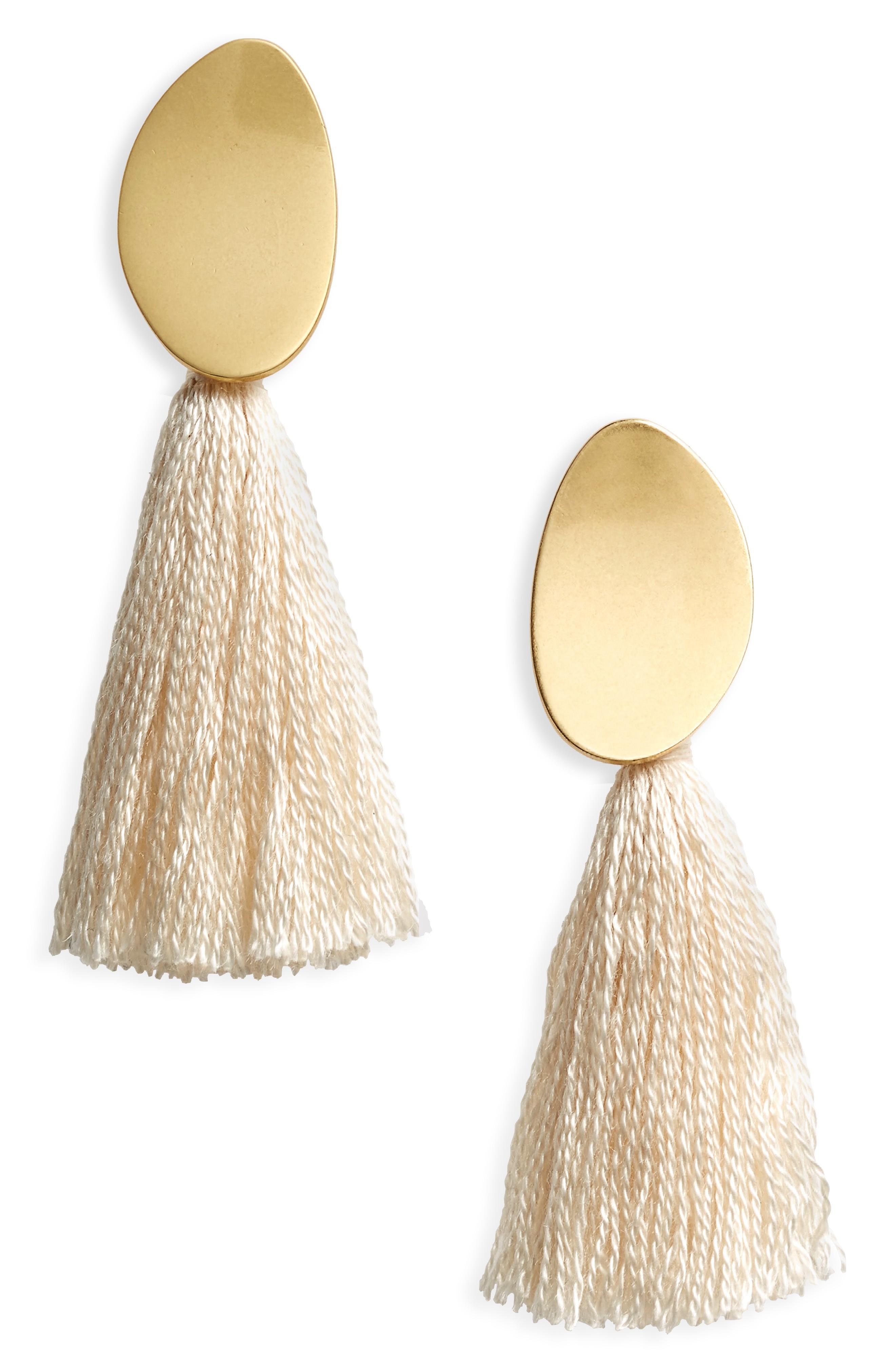 Madewell Curved Tassel Earrings In Cloud Lining