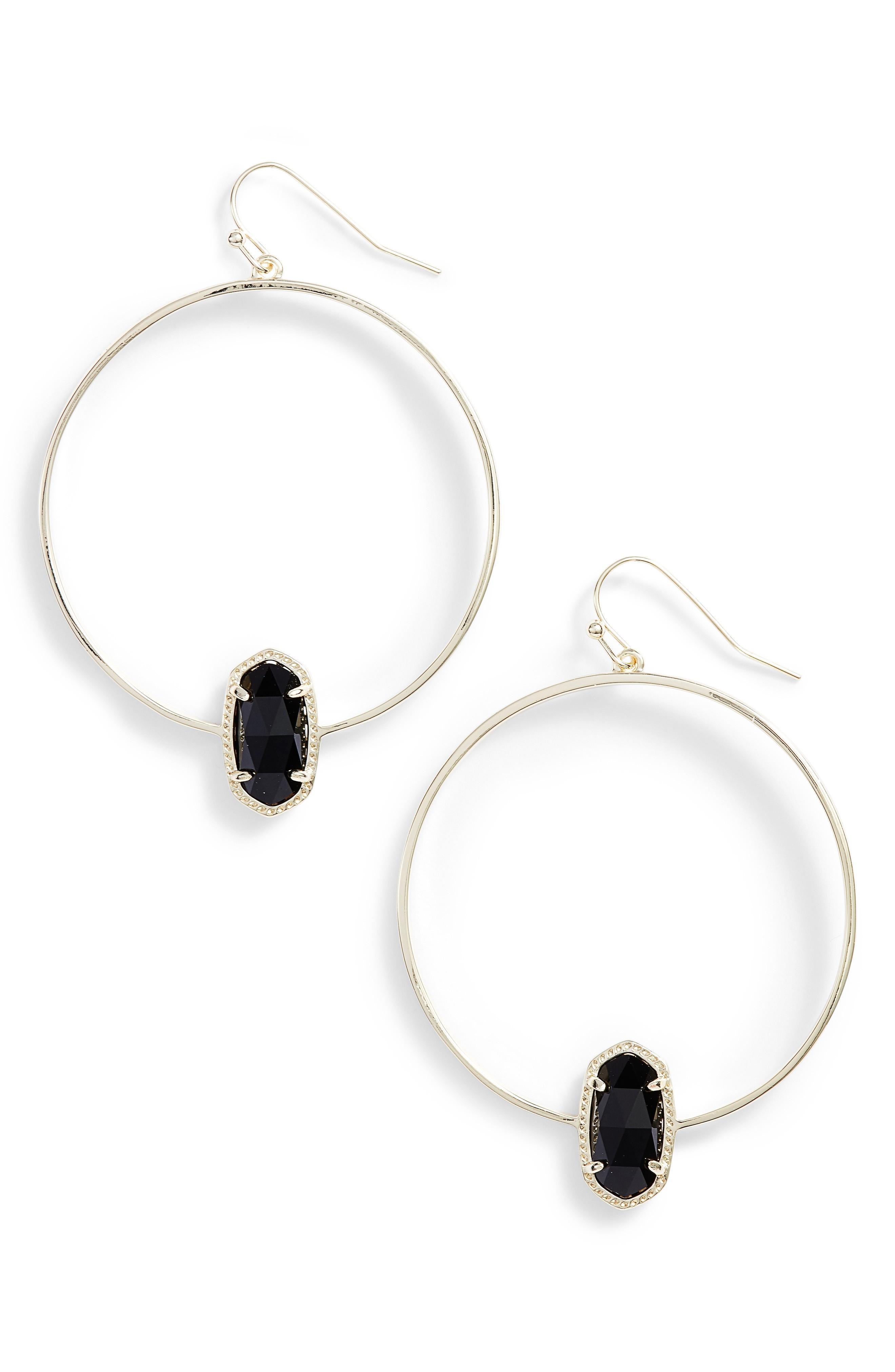 Kendra Scott Elora Frontal Hoop Earrings In Black/ Gold