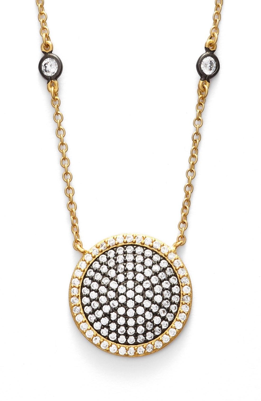 Freida Rothman 'metropolitan' Pave Pendant Necklace In Gold/ Gunmetal/ Clear