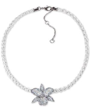 "Nina Cubic Zirconia Orchid Braided Cord Pendant Necklace, 16"" + 3"" Extender In Blk Rhd/lt Gray C/omb Den"