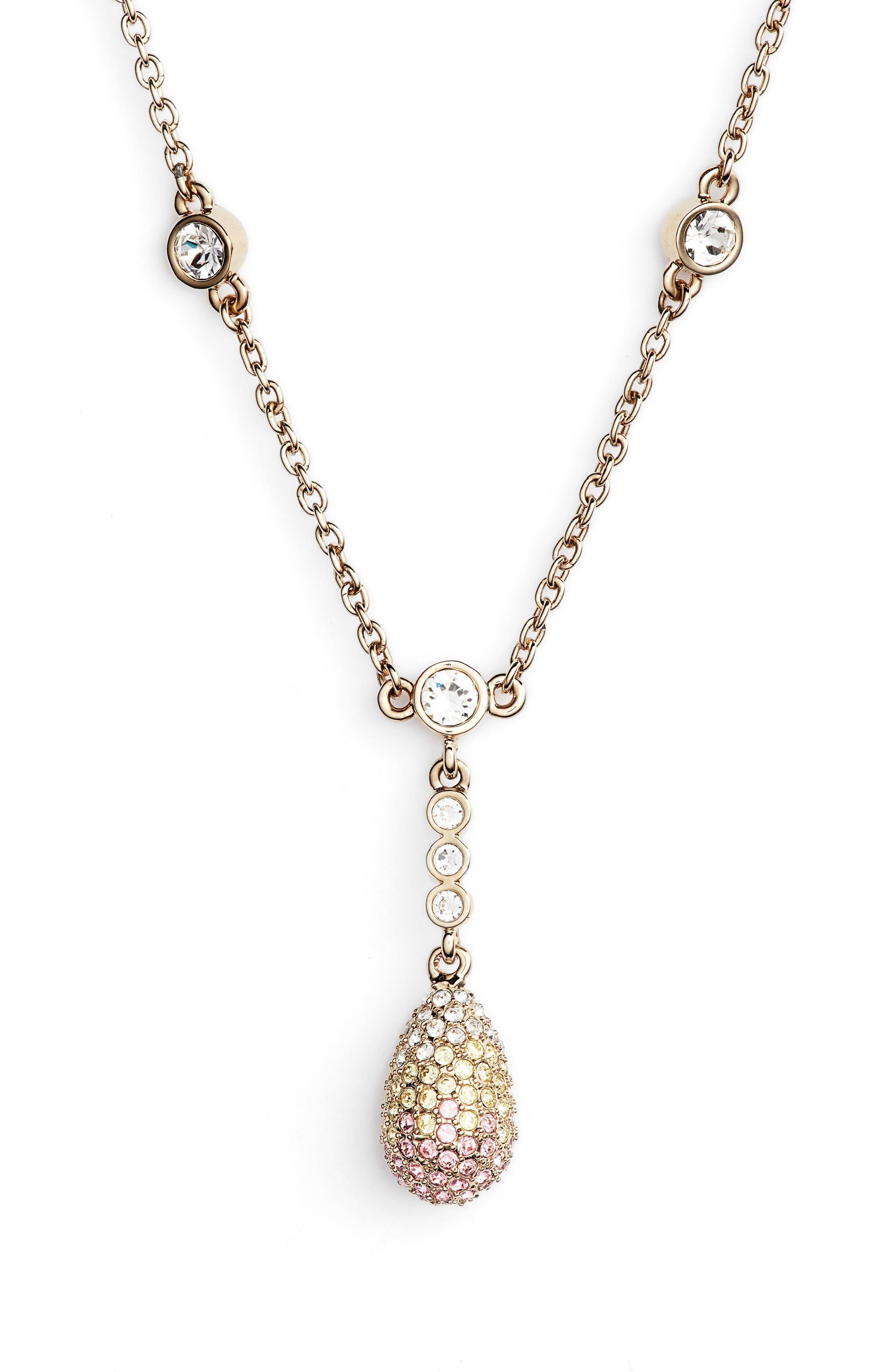 Nina Pave Pendant Necklace In Gold/ Light Rose