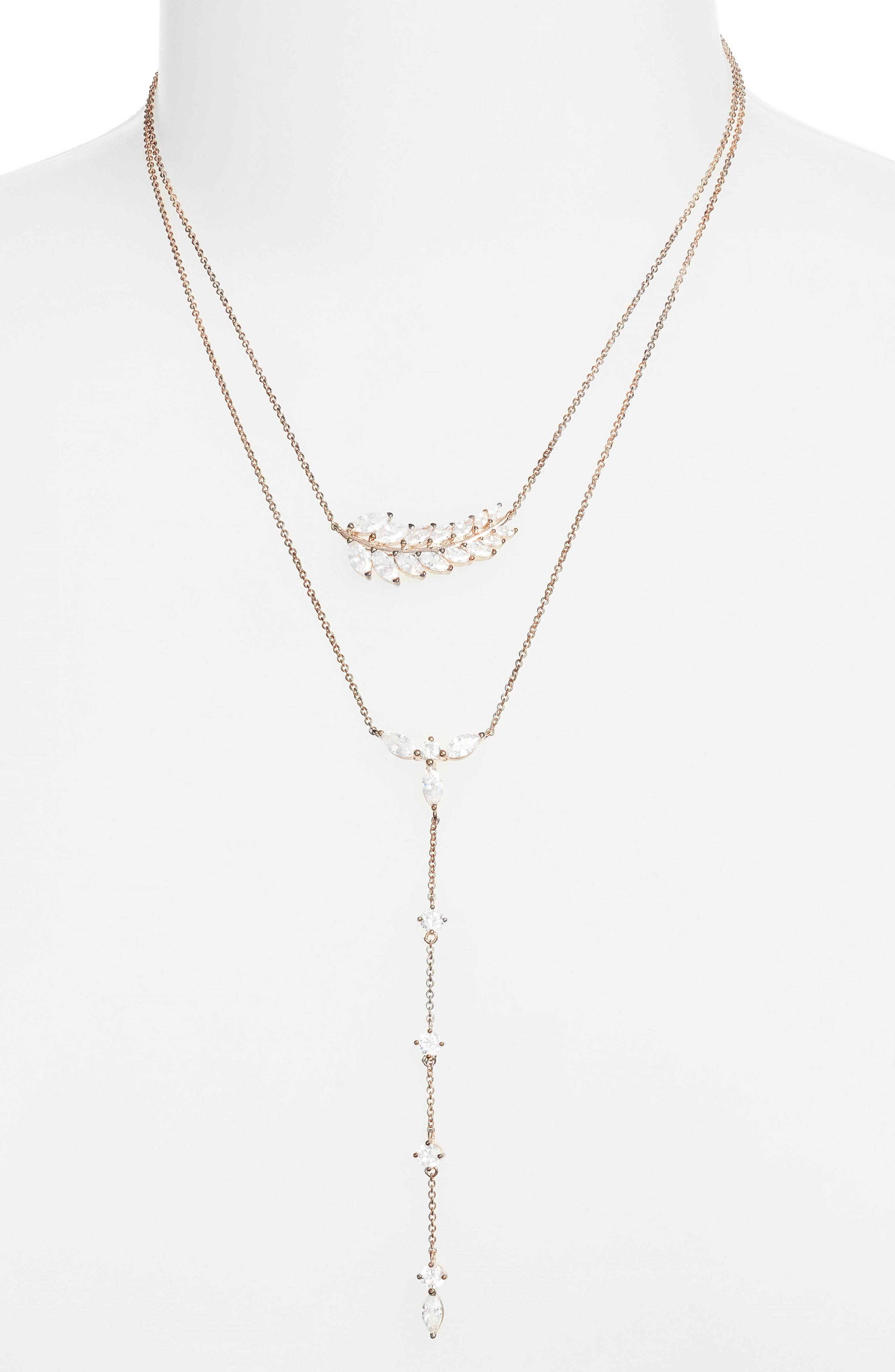 Nina Fern Layered Lariat Necklace In Rose Gold/ White Cz
