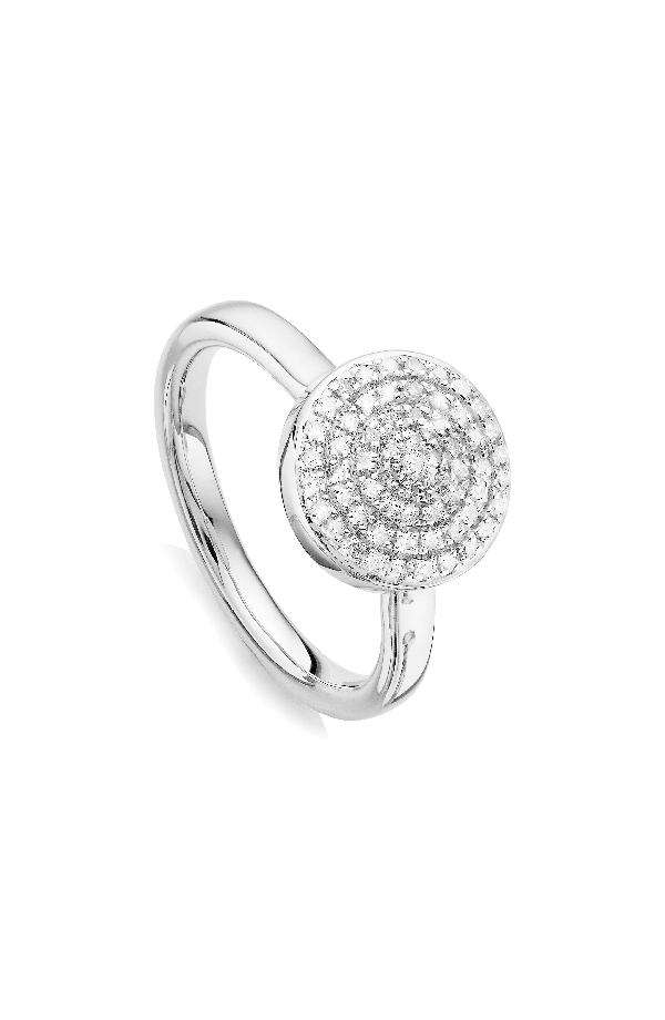 Monica Vinader Fiji Large Diamond Button Stack Ring In Silver