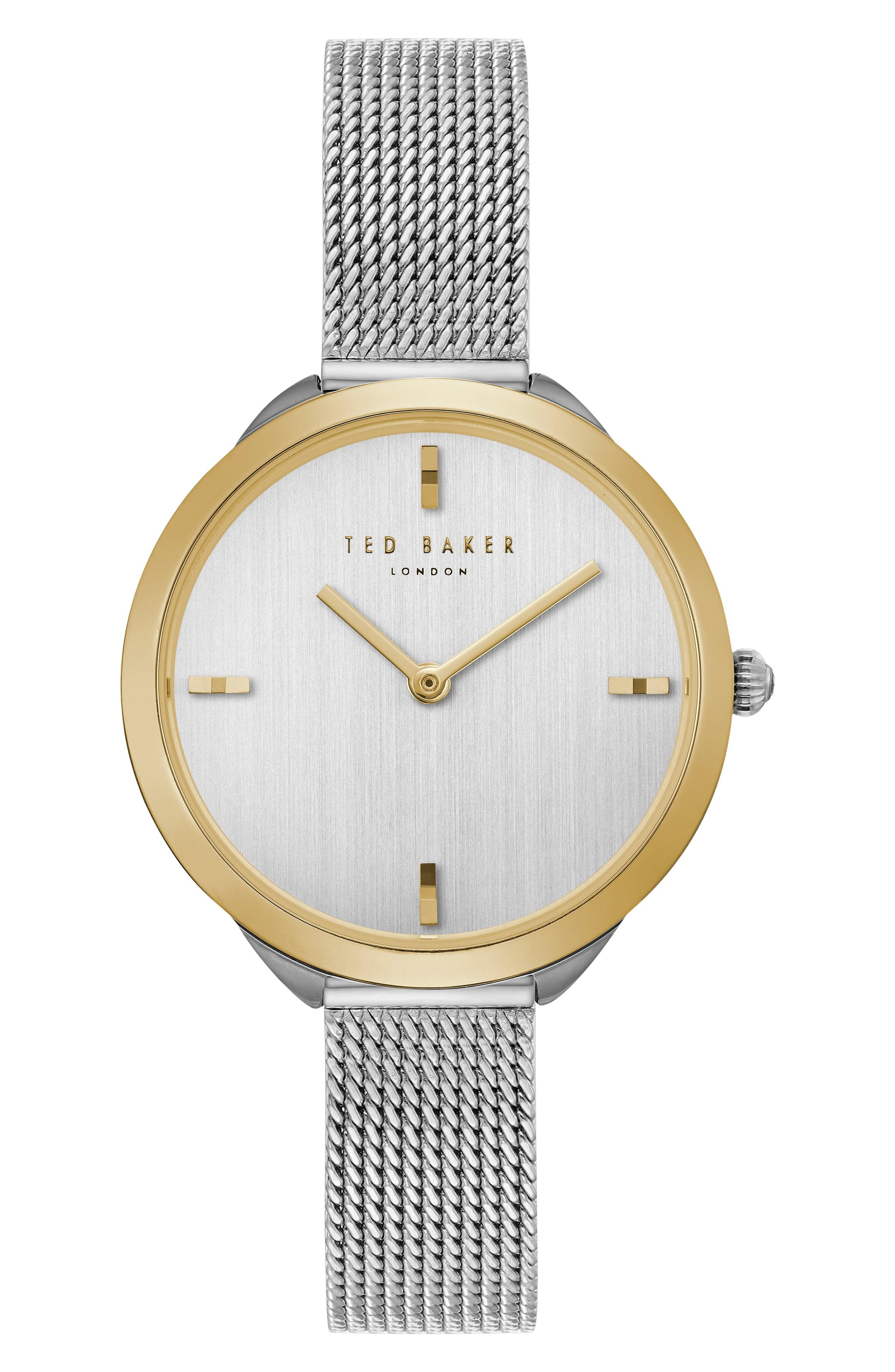 Ted Baker Elana Mesh Strap Watch, 30mm In Silver/ Gold