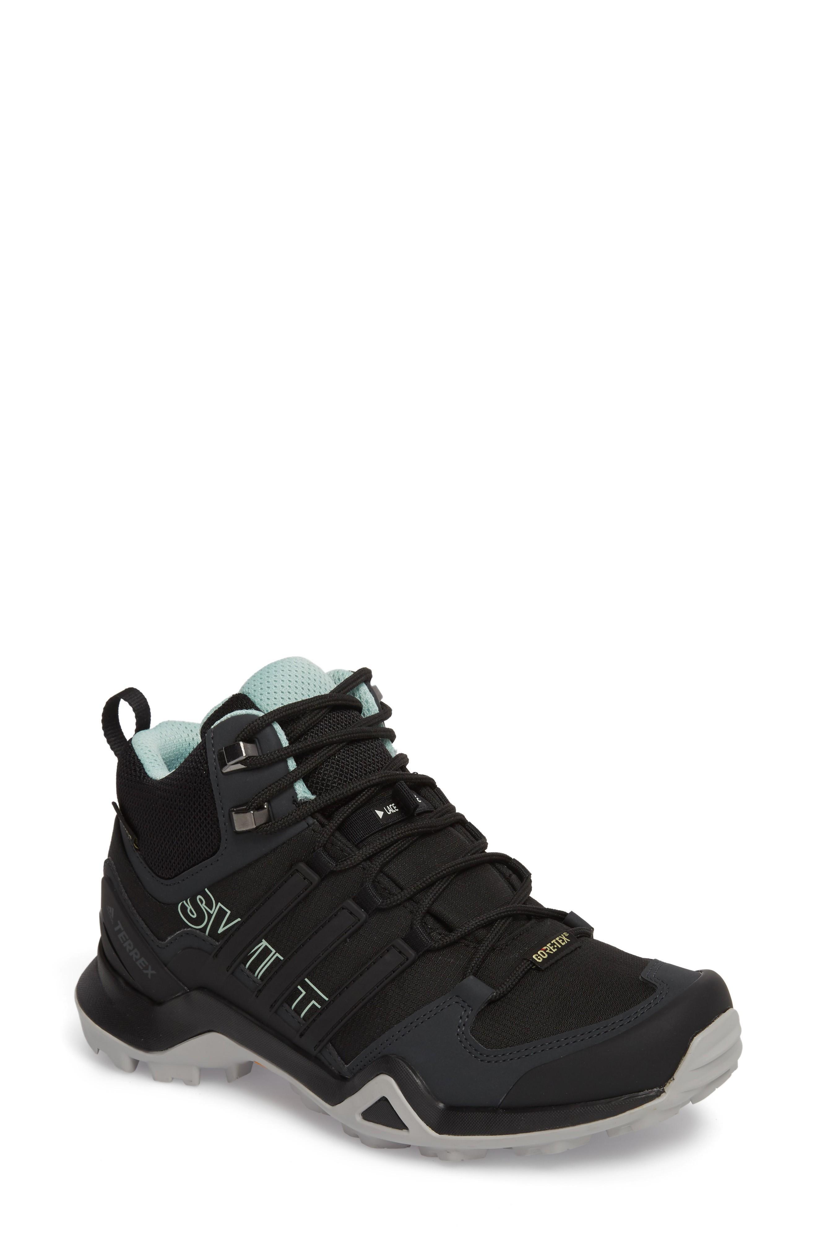 Adidas Originals Terrex Swift R2 Mid Gore-tex Hiking Boot In Black/ Black/ Ash Green