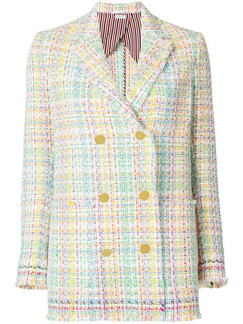 Thom Browne Double Breasted Sack Jacket With Fray & Selvedge In Madras Tulle Tweed With Red, White And Blue Selv In Multicoloured