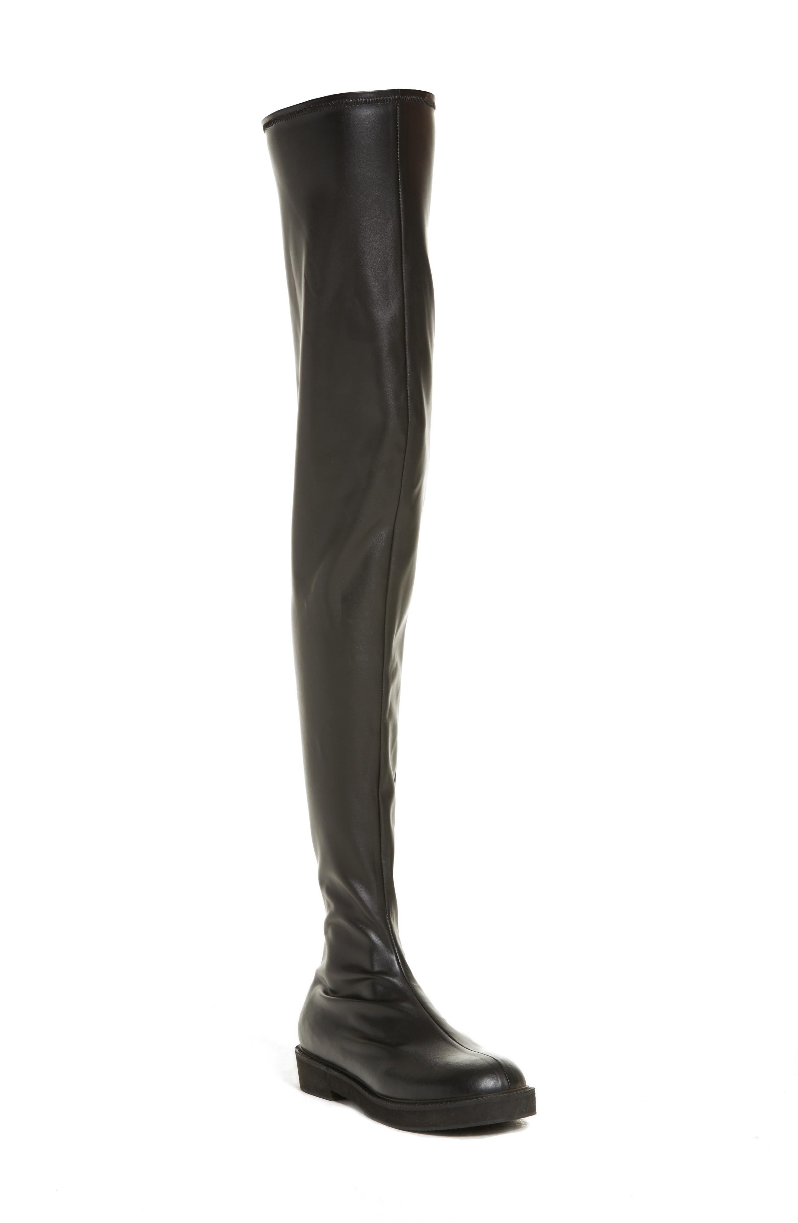 Junya Watanabe Faux Leather Over The Knee Boot In Black
