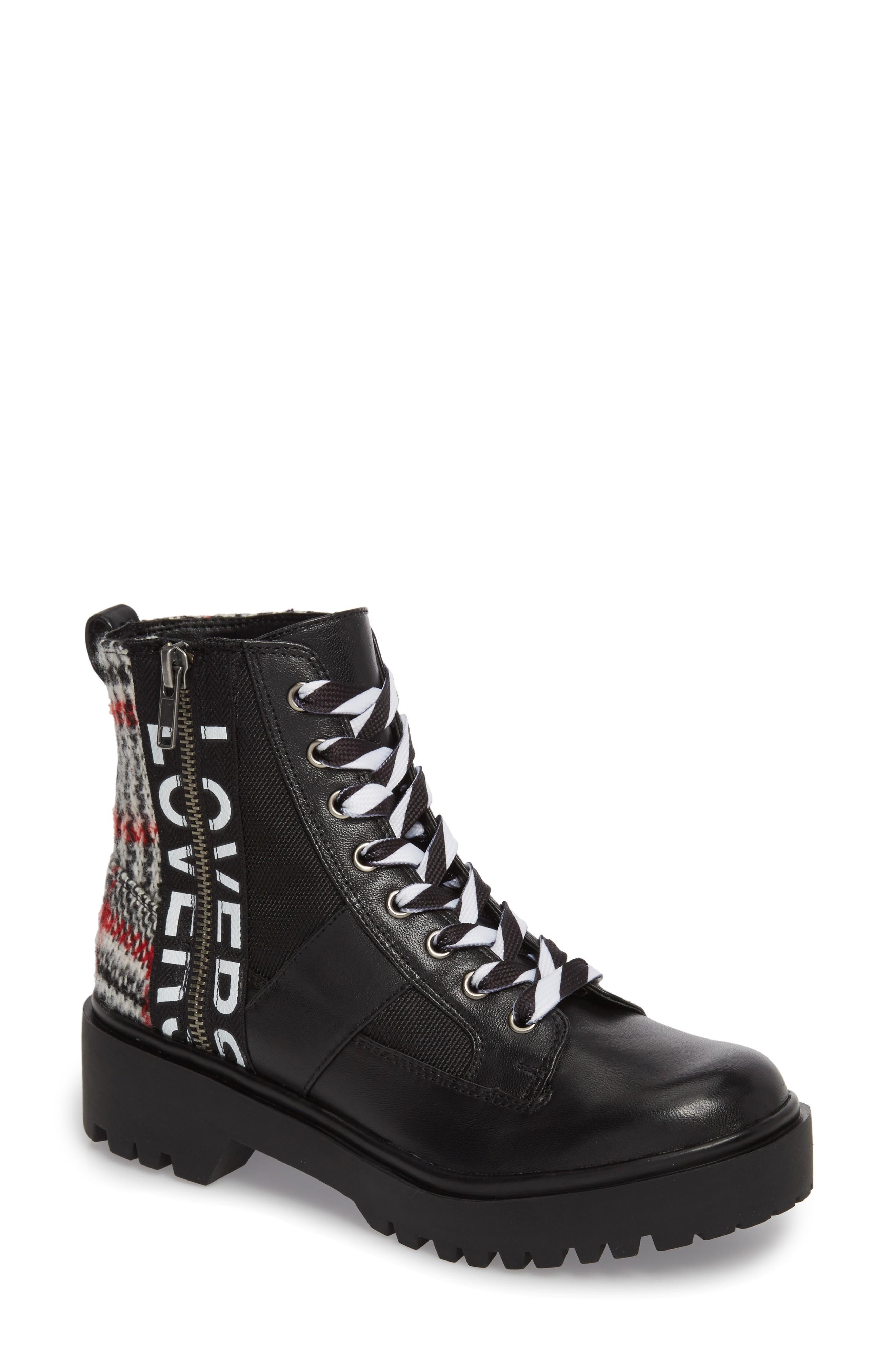 Steve Madden Lennox Combat Boot In Black Multi