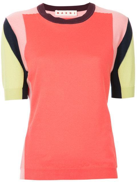 Marni Colour Block Knitted Top In Multicolour