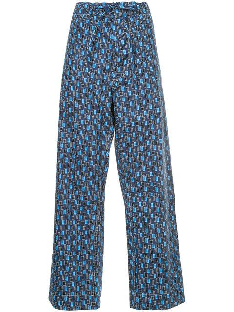 Marni Square Print Drawstring Trousers In Blue