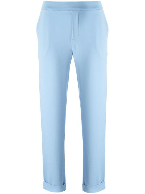 P.a.r.o.s.h. Slim Fitting Trouser With Turn-ups - Blue