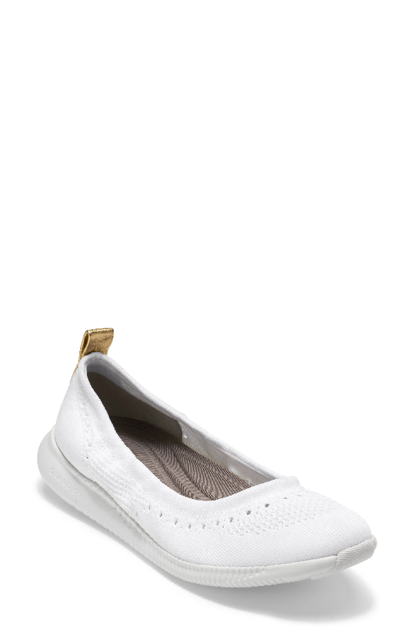 Cole Haan 2.zer?grand Stitchlite Ballet Flat In Optic White Fabric