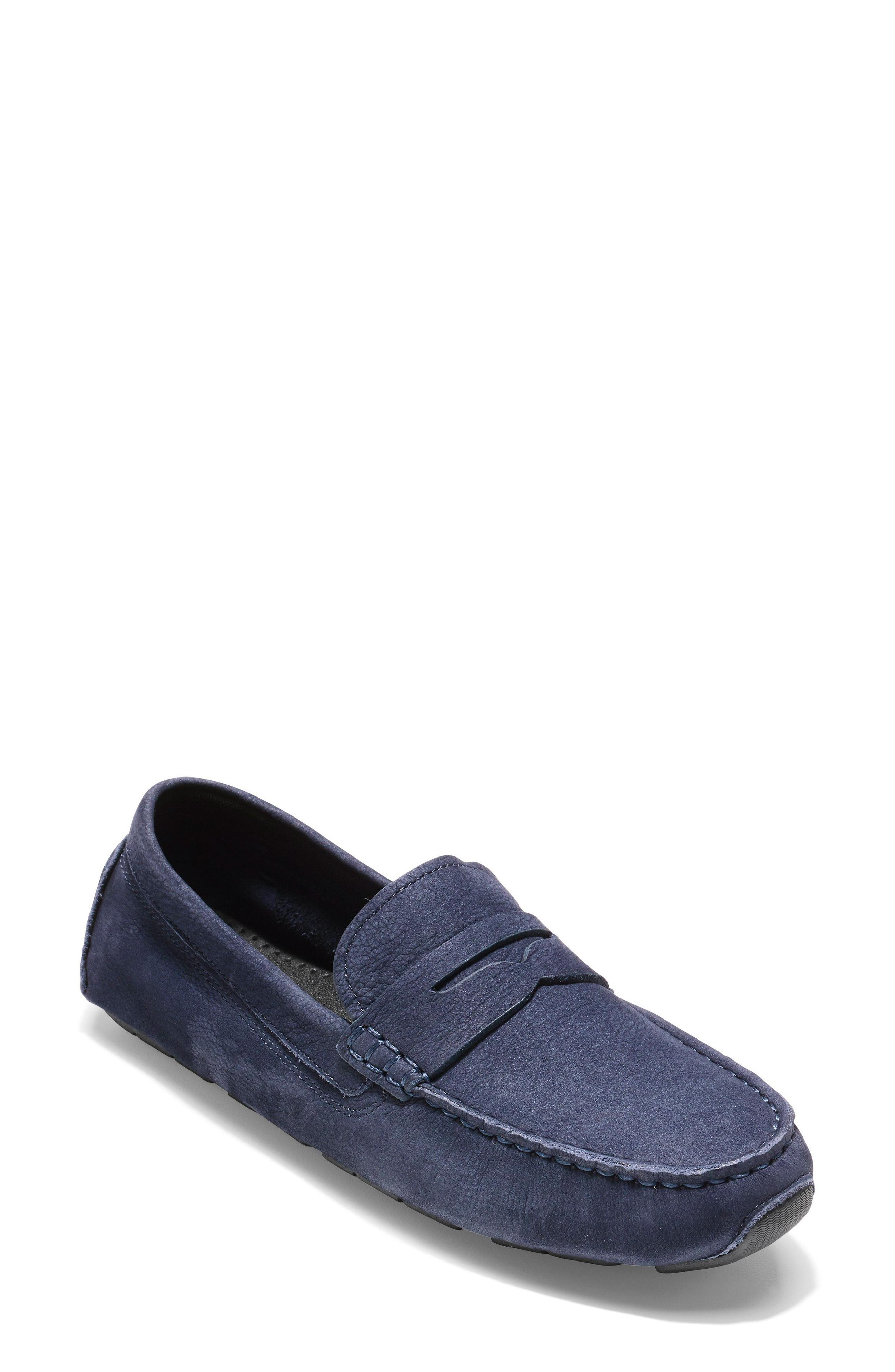 Cole Haan Rodeo Penny Driving Loafer In Marine Blue Nubuck