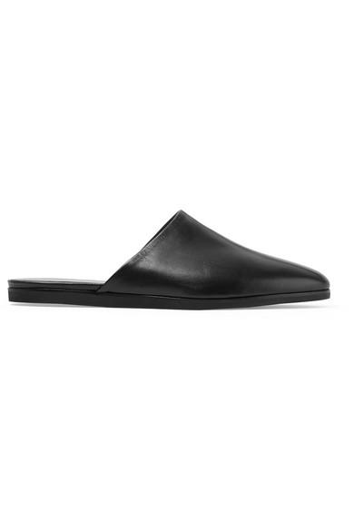 Common Projects Leather Slippers In Black