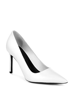 Via Spiga Women's Nikole Leather Pointed Toe High Heel Pumps In White Leather