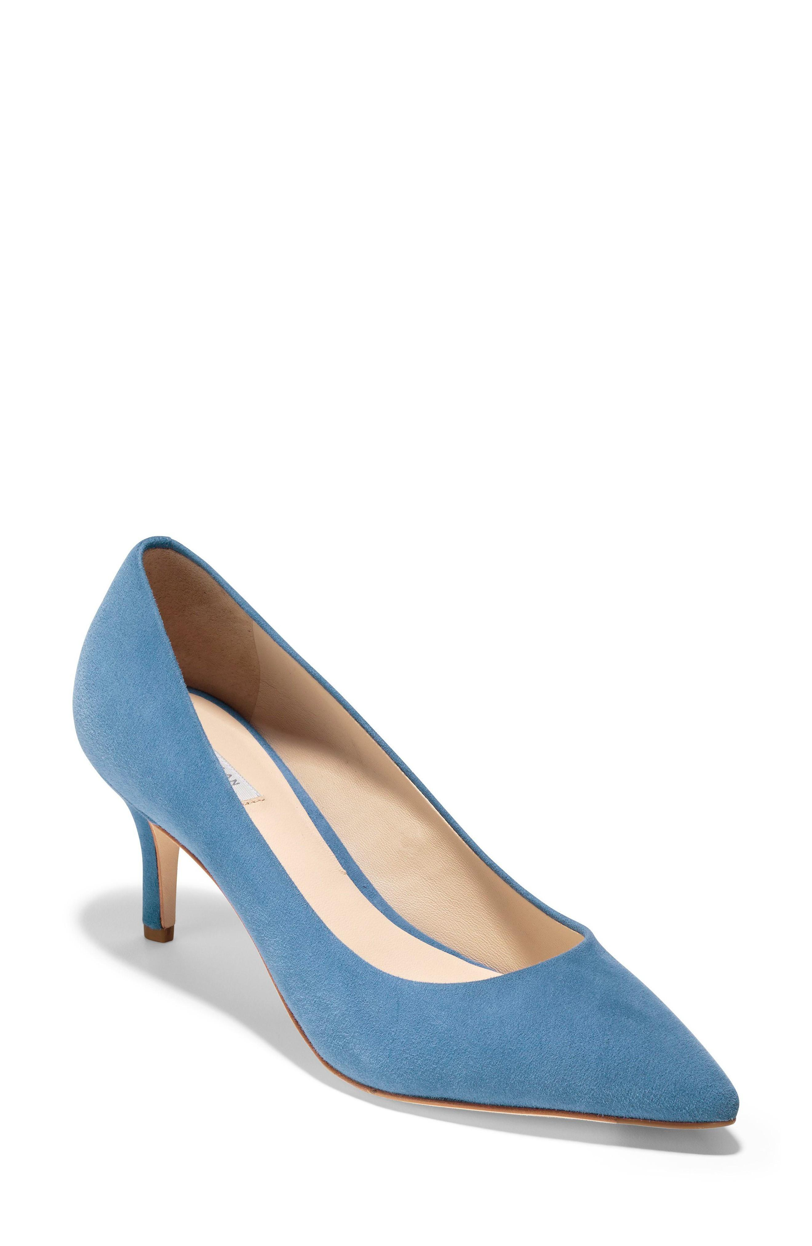 Cole Haan Vesta Pointy Toe Pump In Riverside Blue Suede