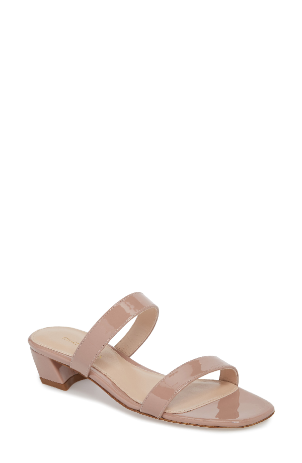 e9ac2d80d2c0 Stuart Weitzman Ava Patent Low-Heel Slide Sandals In Mauve Taupe Gloss