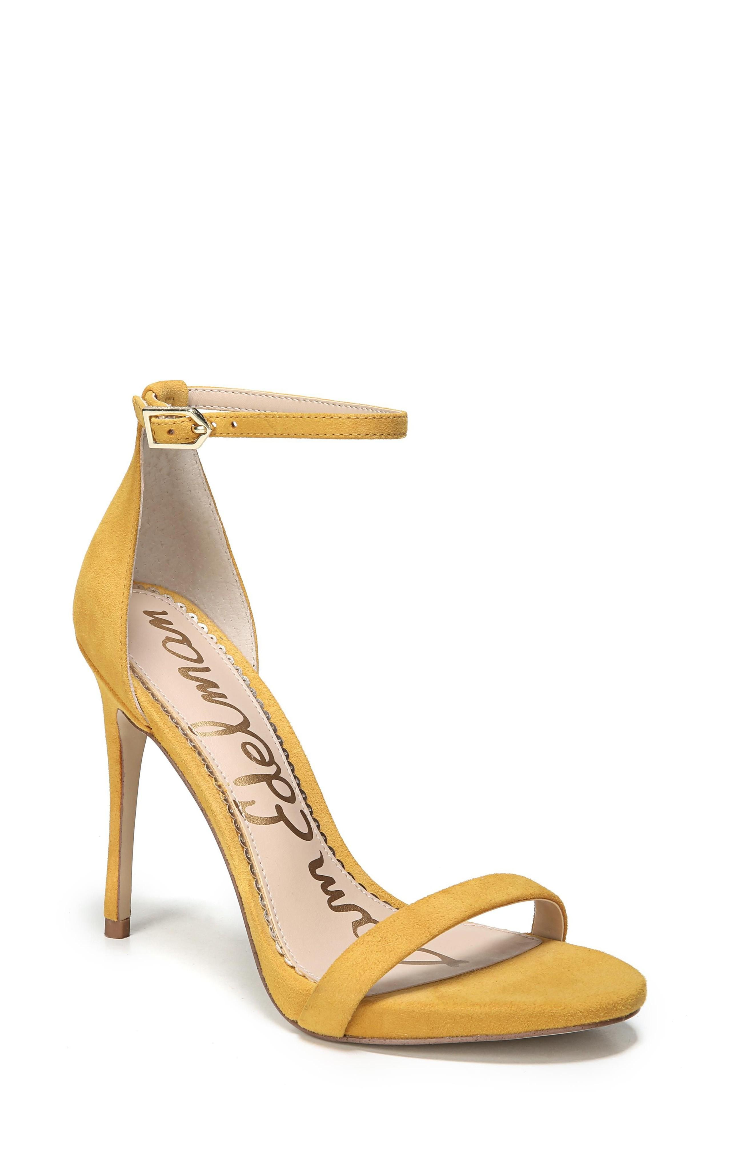 Sam Edelman Ariella Ankle Strap Sandal In Sunglow Yellow Suede