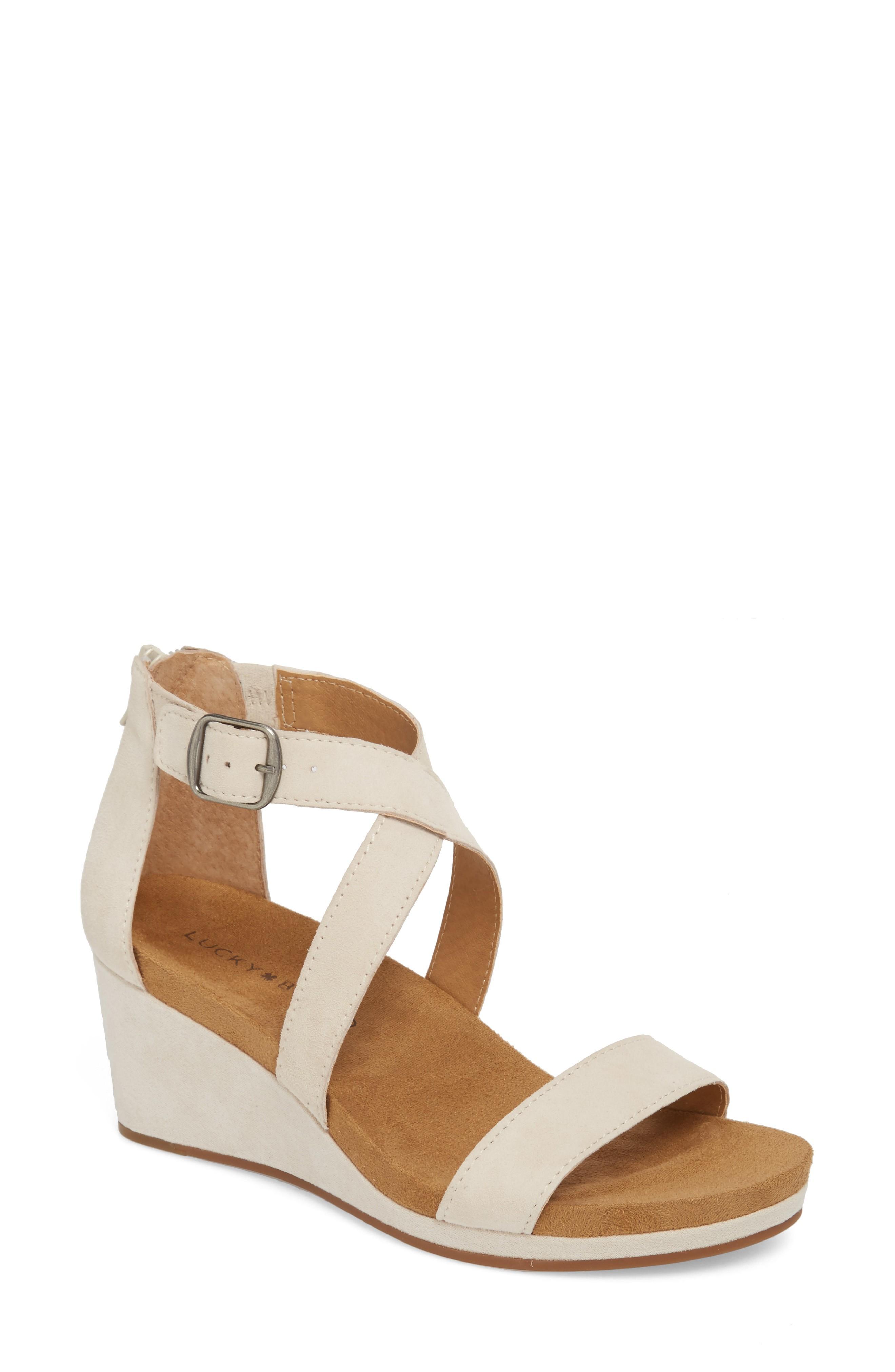 29bd82491b52 Lucky Brand Kenadee Wedge Sandal In Sandshell Suede