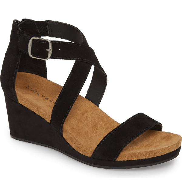 Lucky Brand Kenadee Wedge Sandal In Black Suede