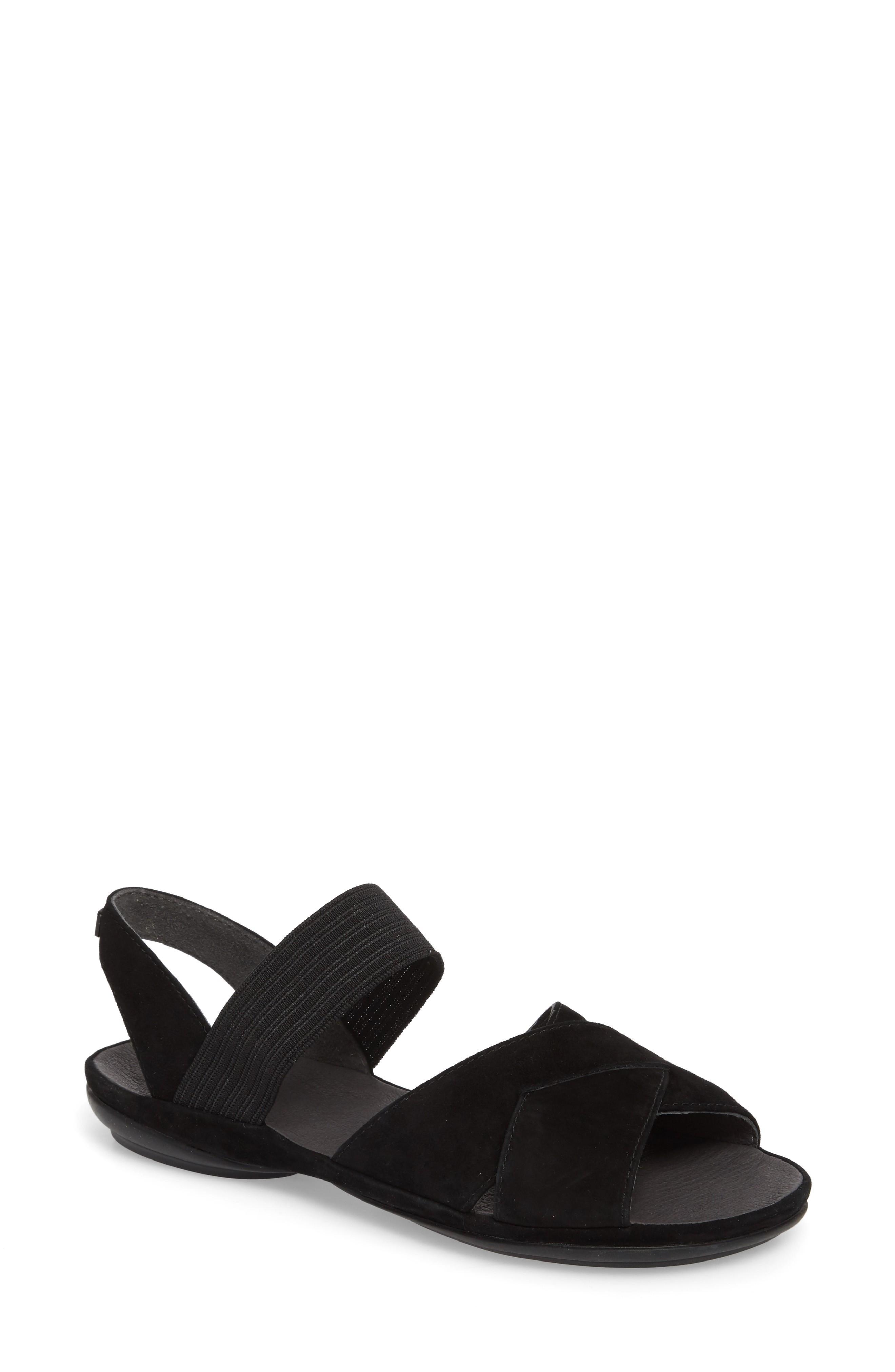 Camper Right Nina Flat Cross Strap Sandal In Black Leather