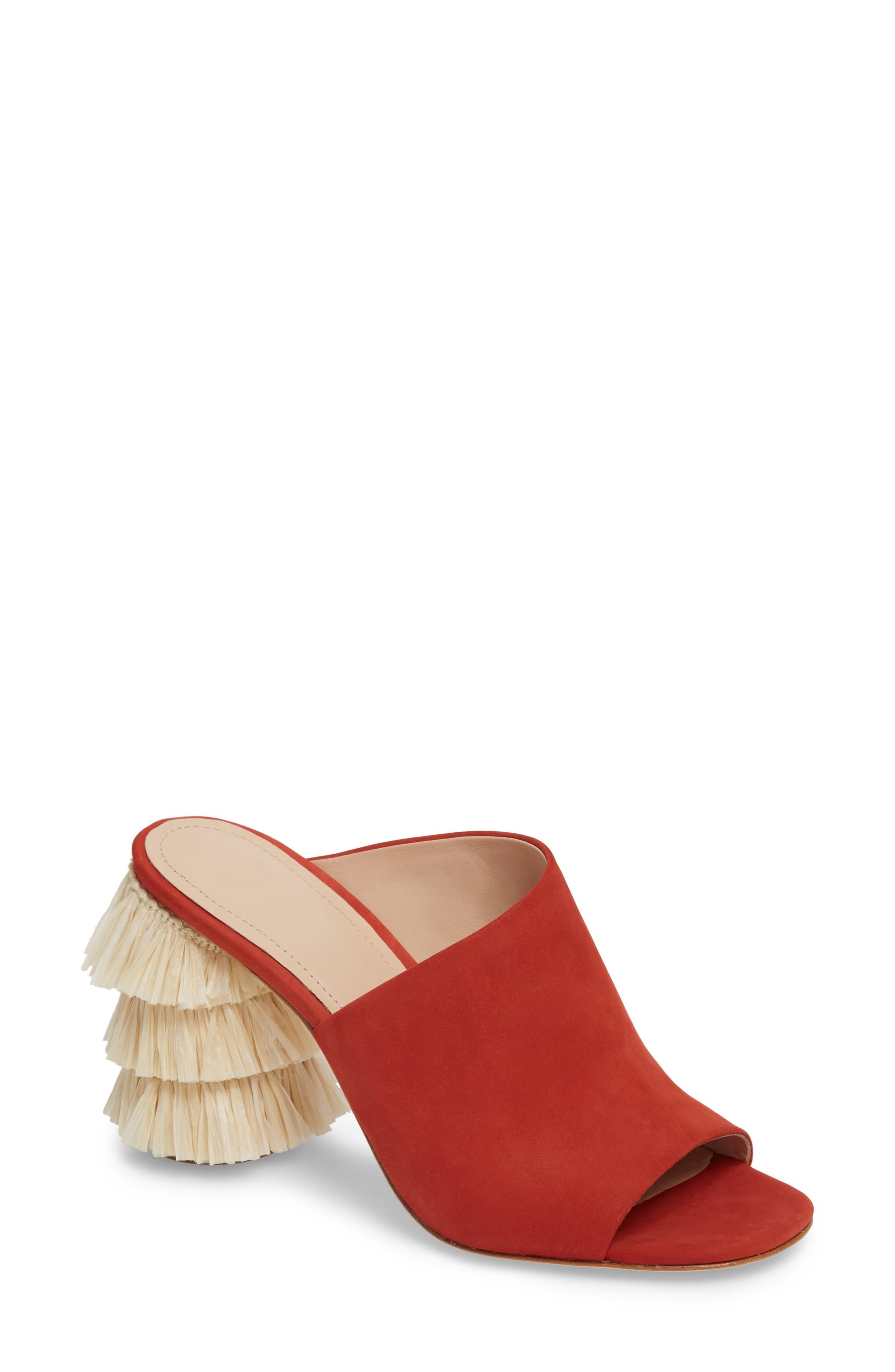 Pour La Victoire Hettie Tassel Heel Mule In Poppy Leather