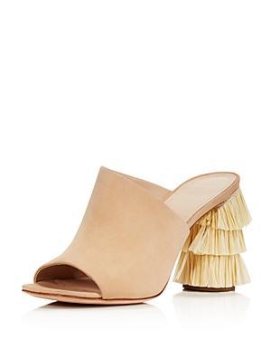 Pour La Victoire Women's Hettie Nubuck Leather & Raffia High-heel Slide Sandals In Sahara Leather