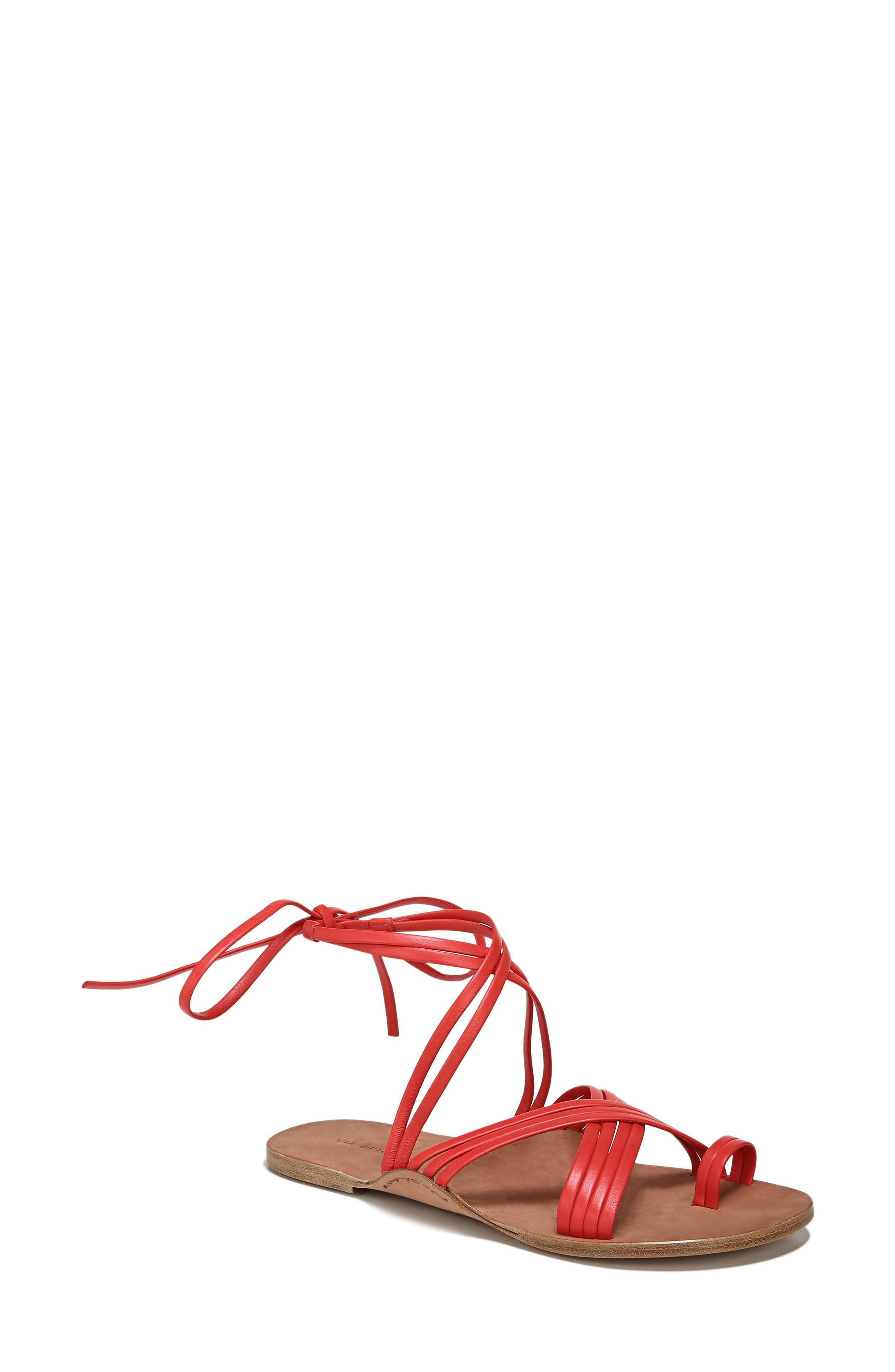 Via Spiga Allegra Sandal In Poppy Red Leather