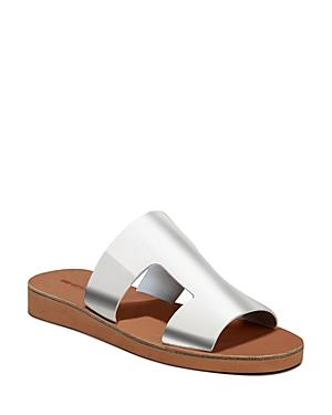 Via Spiga Women's Blanka Metallic Leather Slide Sandals In Silver Leather