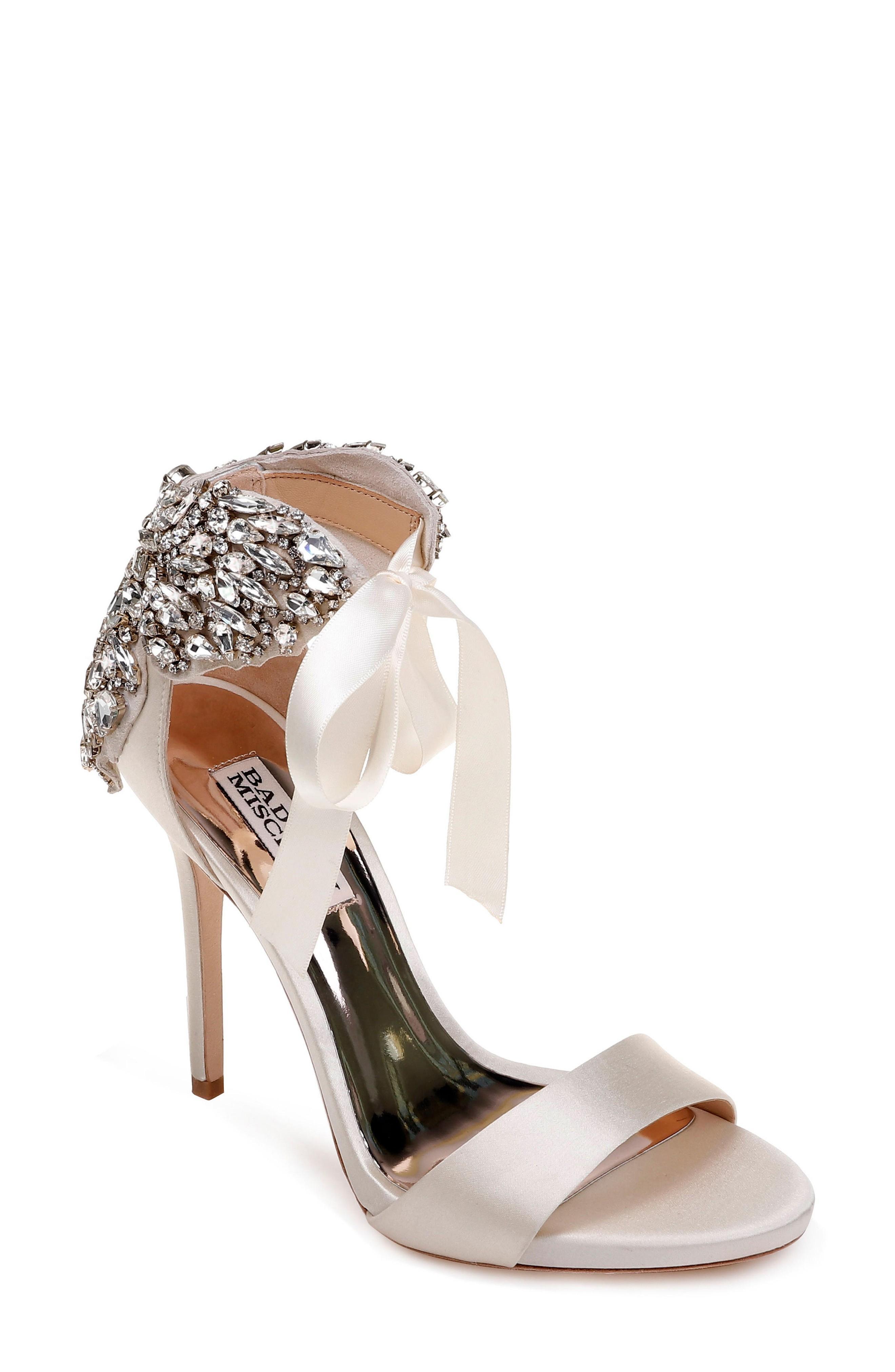 Badgley Mischka Hilda Crystal Embellished Sandal In Ivory Satin
