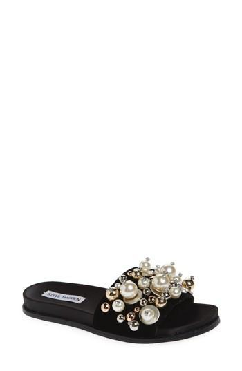 Steve Madden Delicate Embellished Slide Sandal In Black Multi
