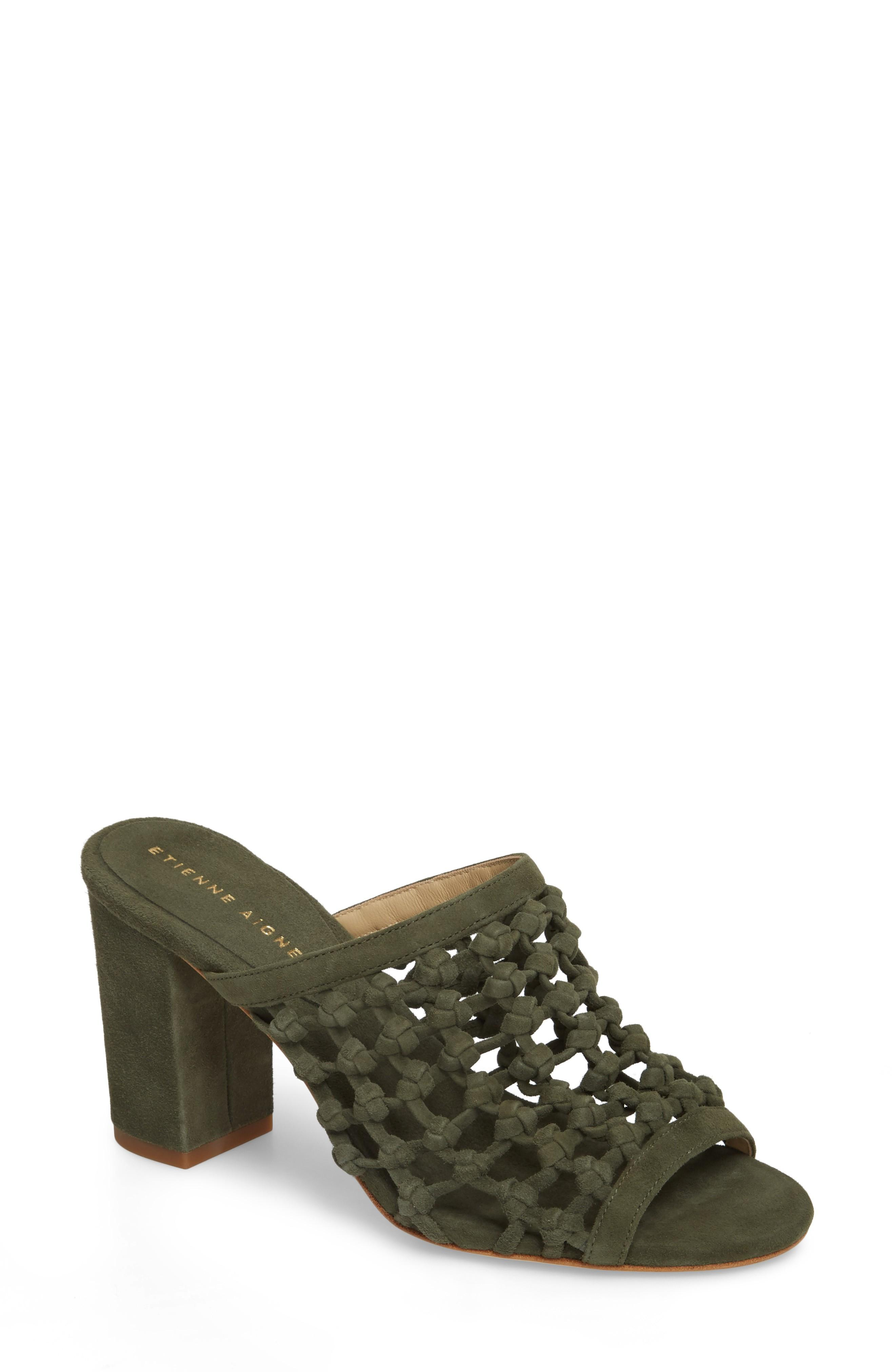 c5907c7e7d7 An intricate knotted lattice lends an extra touch of contemporary style to  a statement-making sandal grounded by a block heel. Style Name  Etienne  Aigner ...