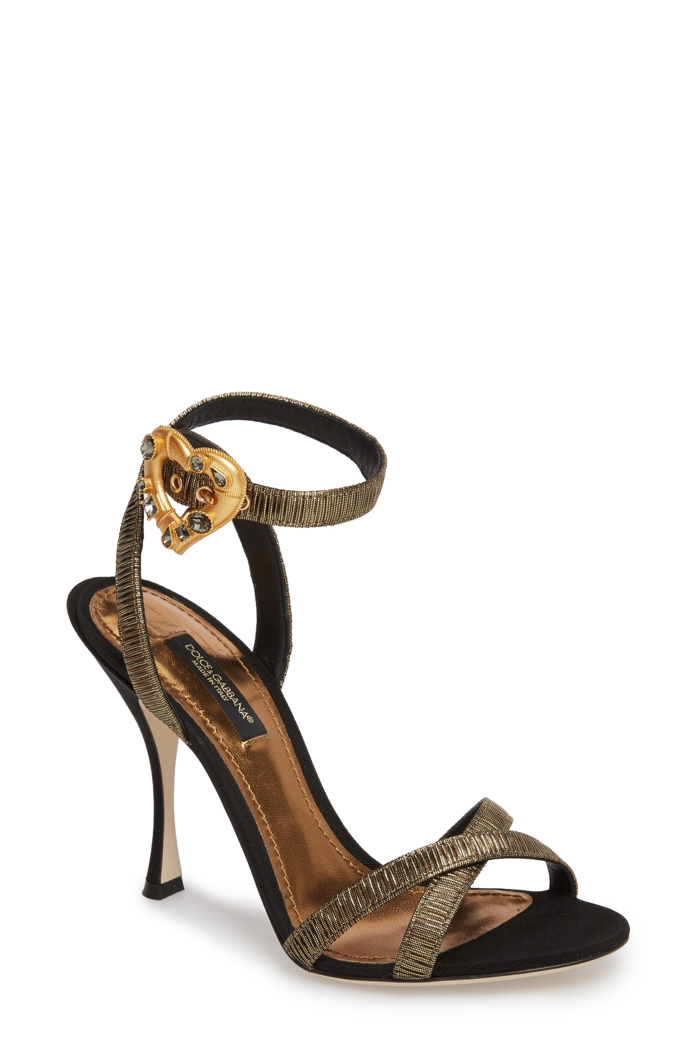 Dolce & Gabbana Ankle Strap Sandal In Silver/ Black