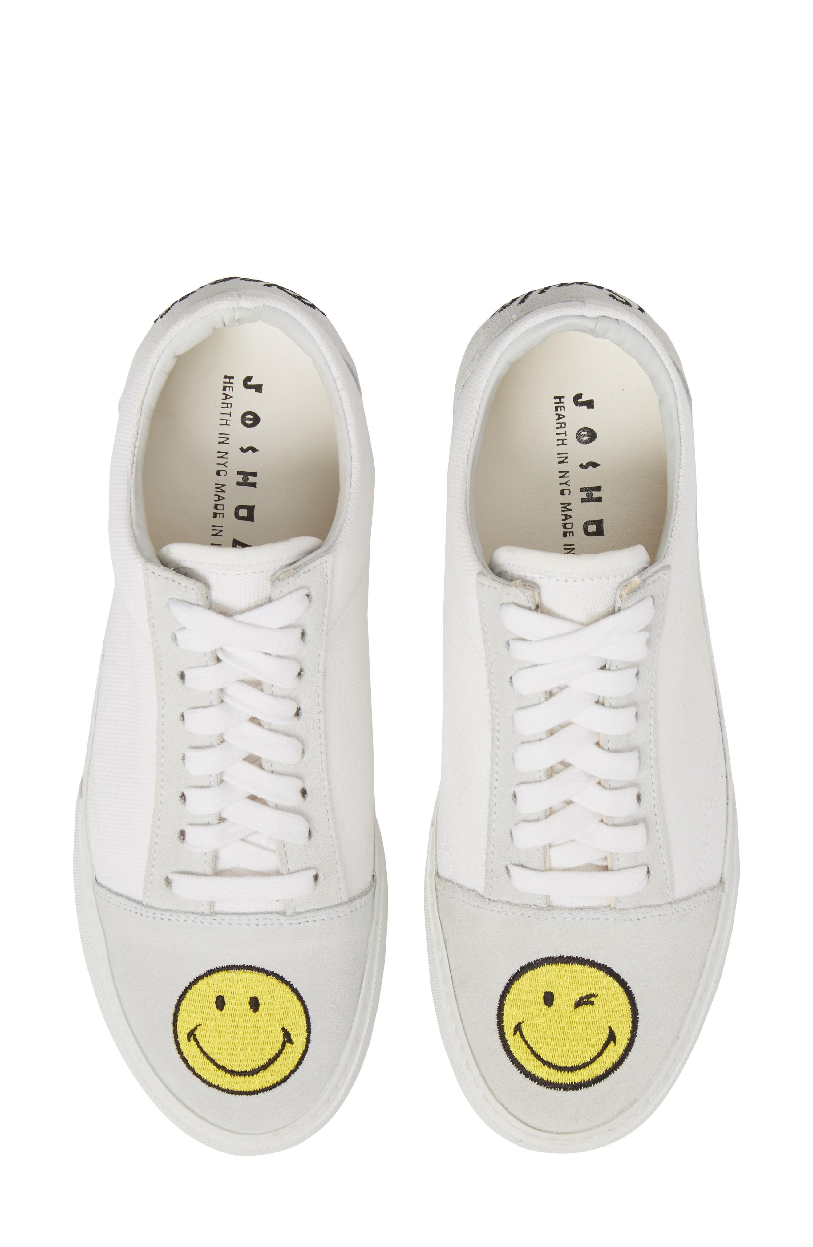 Joshua Sanders Embroidered Smiley Sneaker In White