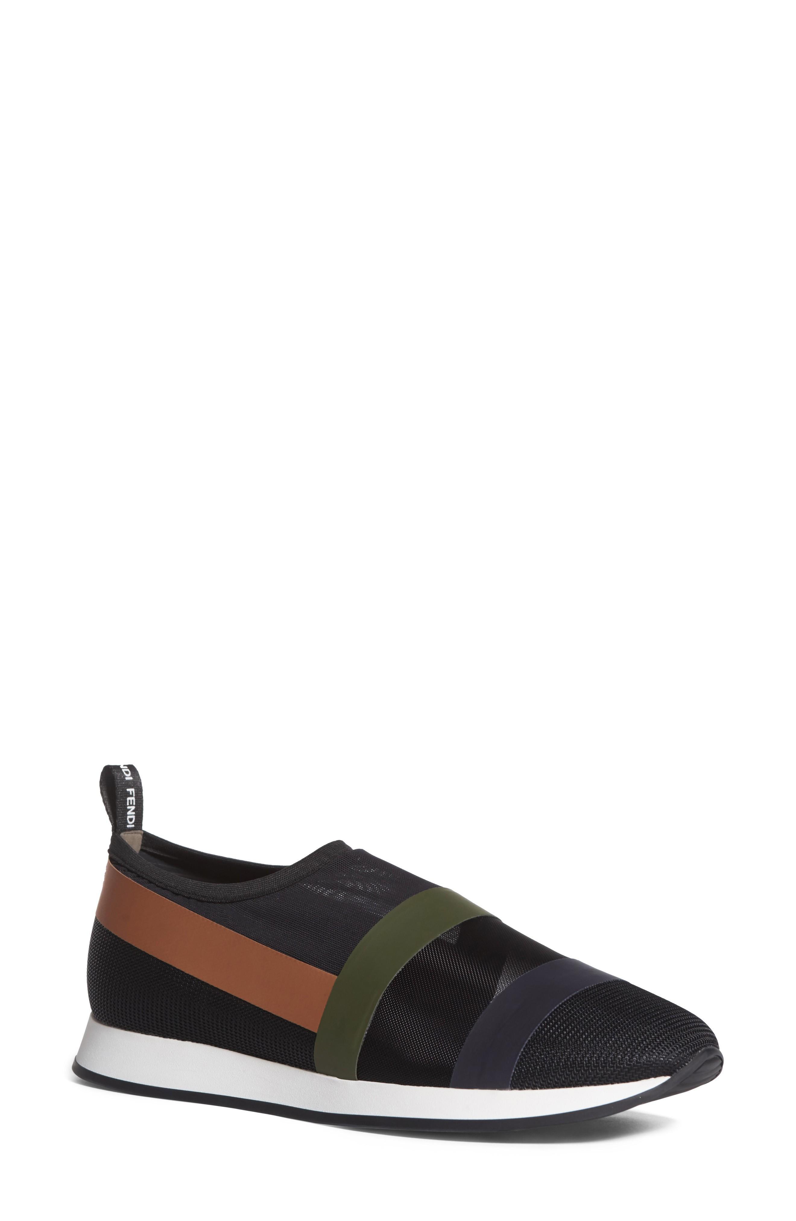 Fendi Slip-on Sneaker In Black/ Beige